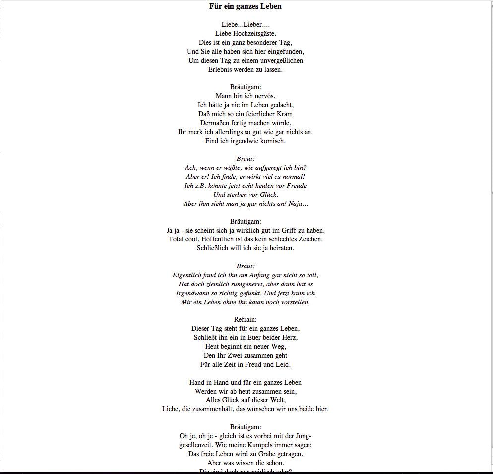 Hochzeitstag Lieder